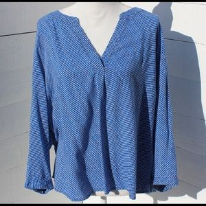Willi Smith Flowy Blue Patterned Blouse in Size 3X